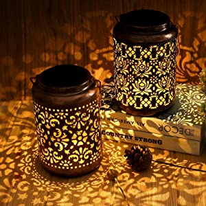 Solar Lanterns Outdoor Waterproof, Orenic 2 Pack Hanging Solar Garden Lights with Handle, Metal Hollow-Out Outdoor Solar Powered Lanterns for Yard Patio Pathway Lawn Tree Decorative