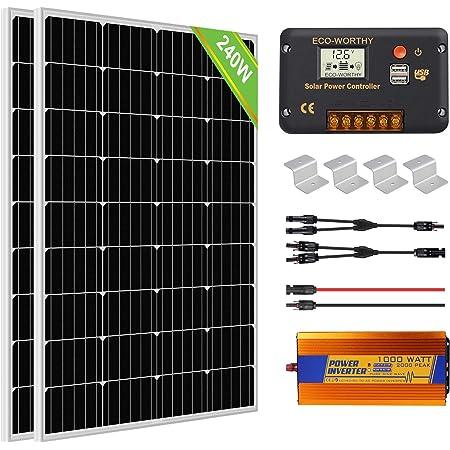 Eco Worthy 1kw H Solarmodul System Mit Wechselrichter 240w 12 V Solarpanel Kit Für Netzunabhängige Wohnmobile 2 Stücke 120w Solarmodul 20a Laderegler 1000w Dc 12v Wechselrichter Gewerbe Industrie Wissenschaft