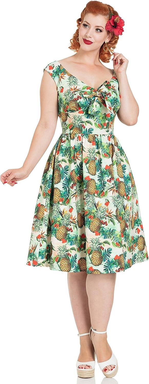 Voodoo Vixen Dana Tropical Dress Pineapple Cherry 50's Rockabilly