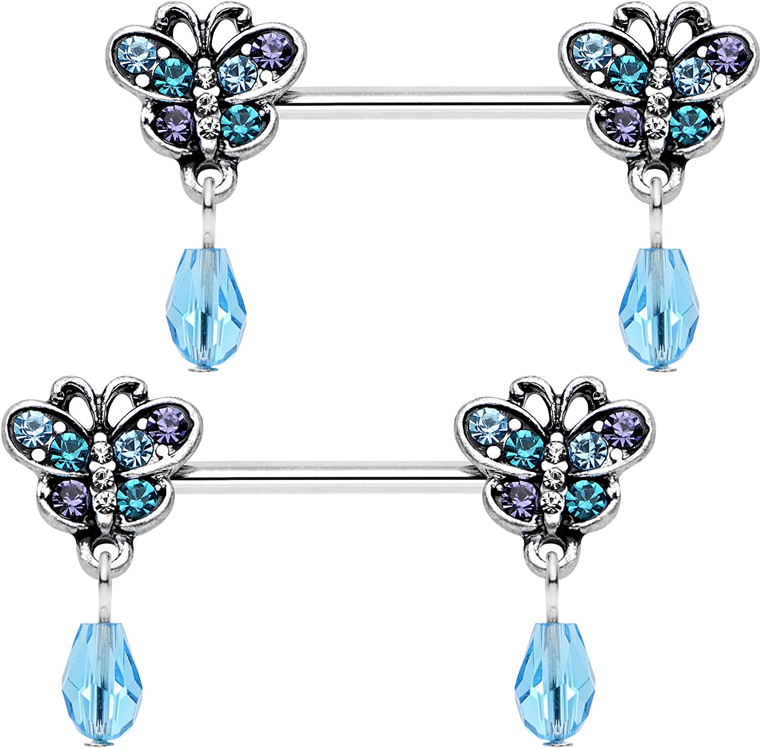 Body Candy Steel Blue Purple Accent Butterfly Dangle Barbell Nipple Ring Set of 2 14 Gauge 9/16