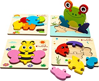 Wooden Animal Jigsaw Puzzles for Toddlers Kids 1 2 3 Years Old, Girls & Boys Educational Toys (Montessori Preschool Learning) Great Gift -Set of 4 Animals Bright Color Shape