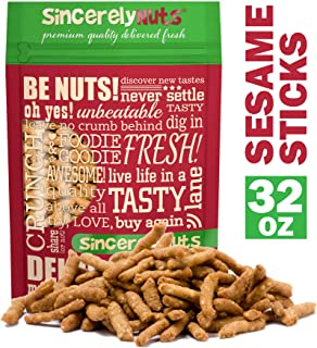 Sincerely Nuts Salted Sesame Sticks - (2 LB) The Perfect Vegan Treat - Crunchy Family Favorite - Snack in Style - Delicious & Insanely Fresh - 100% Kosher Certified