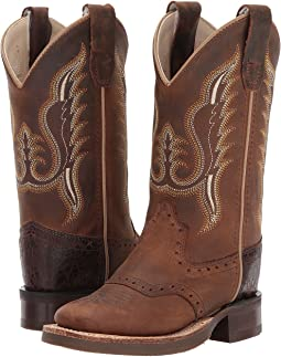 24471c457d8 Old west kids boots brown croc print square toe boot toddler little ...