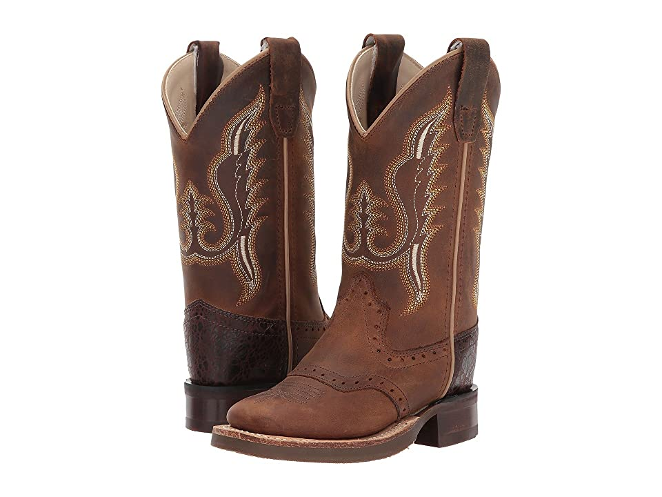 Old West Kids Boots Broad Square Toe (Toddler/Little Kid) (Distress) Cowboy Boots