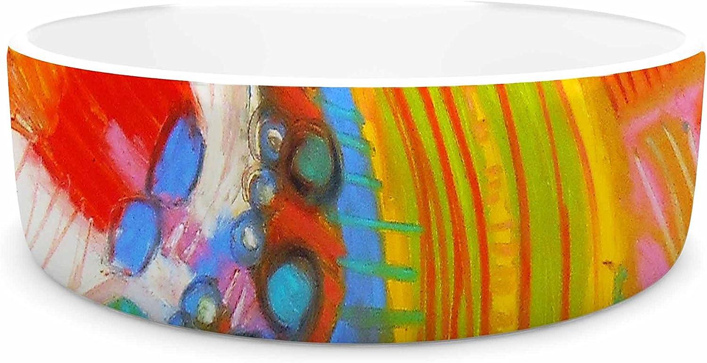 KESS InHouse Jeff Ferst Flower Power  Abstract Multicolor Pet Bowl, 7