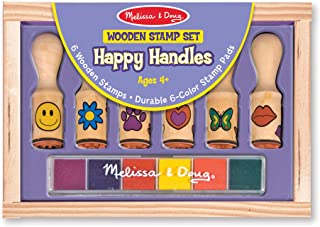 Melissa & Doug 2407 Happy Handles Wooden Stamp Set: 6 Stamps and 6-Color Stamp Pad