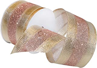 Morex Ribbon Dimensions Ribbon, French Wired Polyester, 2 1/2 inches by 20 Yards, Blush, Item 7724.60/20-430, 2-1/2