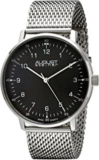 August Steiner Men's Classy Dress Watch - Black Dial With Silver Hands on Stainless Steel Mesh Bracelet - AS8091