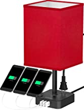 COZOO USB Bedside Table & Desk Lamp with 3 USB Charging Ports and 2 Outlets Power Strip,Black Charger Base with Red Fabric Shade, LED Light for Bedroom/Nightstand/Living Room