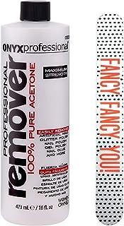"Onyx Professional 100% Acetone Nail Polish Remover Kit With 7"" Fashion Nail File, 16 Fl Oz"