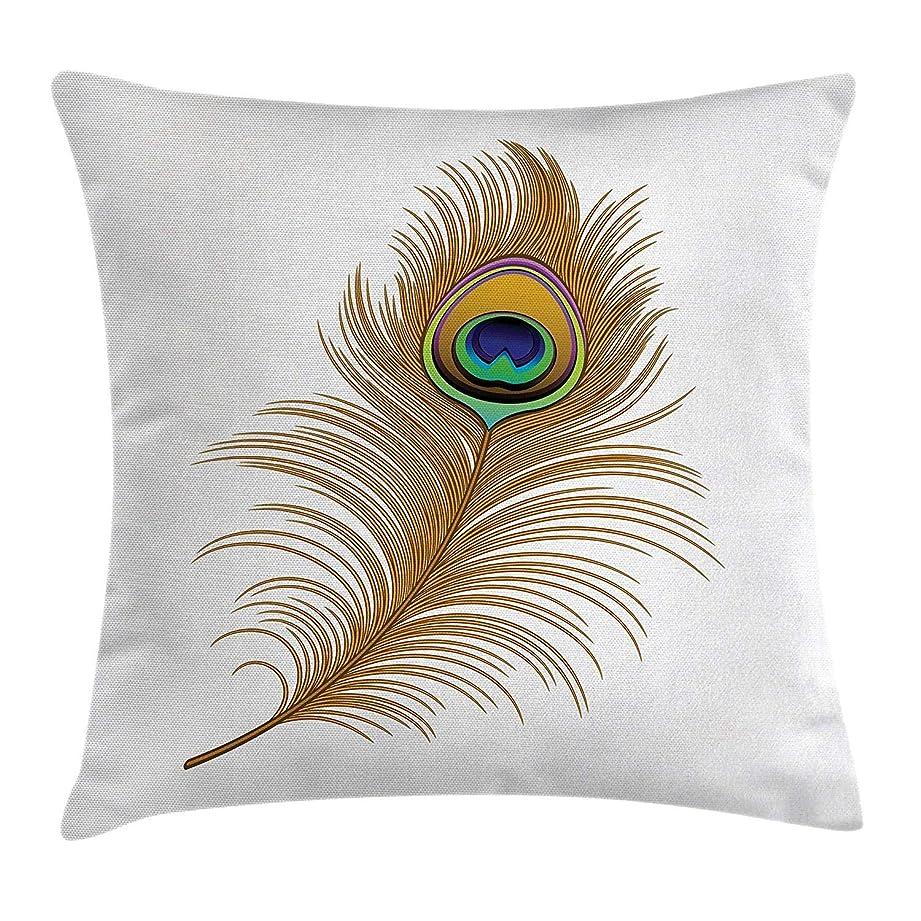 ストッキング商人慣らすDeeoor孔雀投げ枕クッションカバー、エキゾチックな魅惑的な鳥の羽魔法の野生の自然装飾的なイメージの印刷、装飾的な正方形のアクセントの枕カバー、18 x 18インチ、マスタードグリーンネイビー