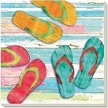 CounterArt Beach Flip Flops Absorbent Coasters, Set of 4