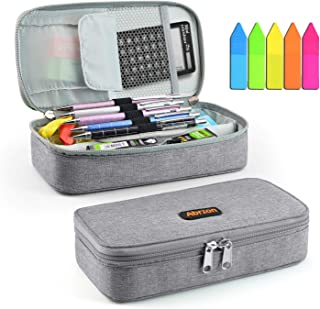 Pencil Case,Abrzon Big Capacity Pen Case Desk Organizer with Zipper for School & Office Supplies - 8.74x4.3x2.17 inches, (Gray)