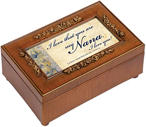 Nana Rich Walnut Finish Petite bijoux Music Box - Plays How Great Thou Art