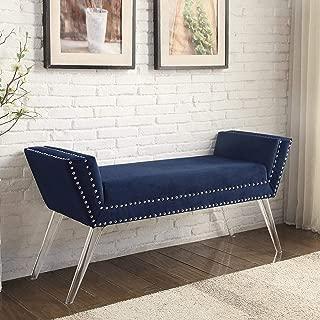 Inspired Home Navy Velvet Bench - Design: Crawford   Modern Acrylic Legs   Upholstered   Nailhead Trim Finish