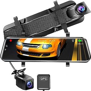 【最新版Sonyセンサー & 64Gカード付】 ドライブレコーダー ミラー型 前後カメラ ドラレコ 1440P 10インチ フルタッチパネル 超高解像度 GPS搭載 電波障害対策済 170度広角視野 HDR/赤外線暗視 駐車監視 上書き録画 G...