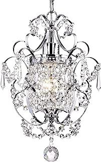 LuFun Modern Crystal Chandeliers,Crystal Pendant Light,Chandelier Lighting Fixtures,Ceiling Light for Living Room Bedroom Restaurant Hallway (1-Light,Chrome)
