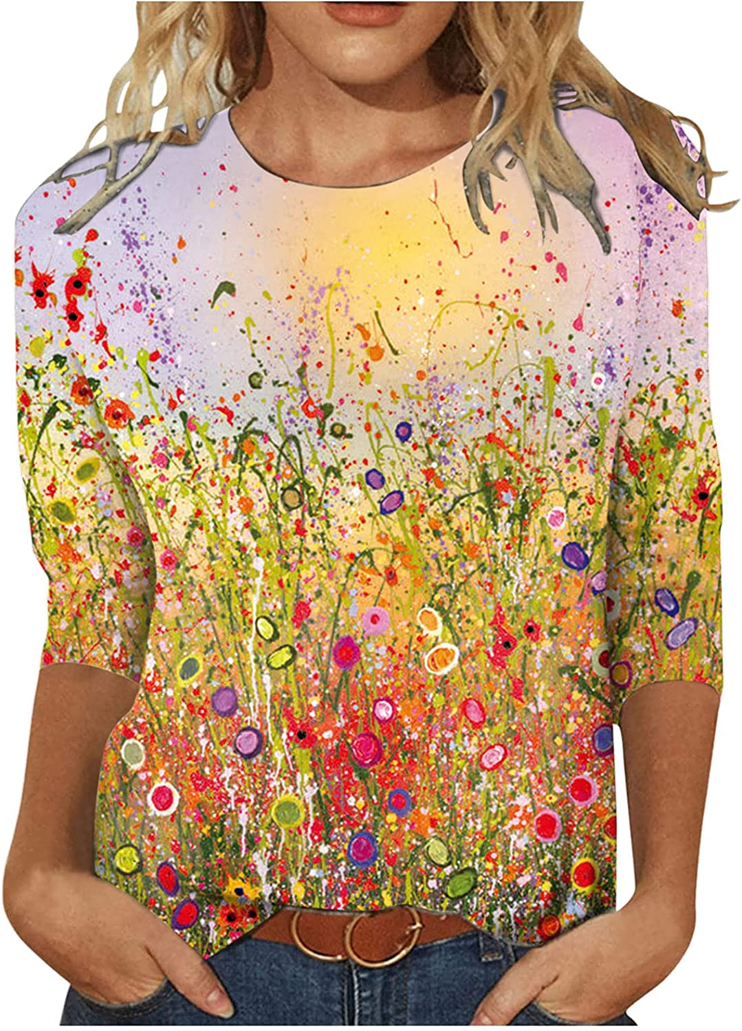 INNOVIERA Long Sleeve Blouses for Women Plus Size,Womens Floral Neck Sweatshirt Slouchy Casual Loose Tops Shirts Tunic Tees