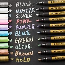 Metallic Marker Pens, Morfone Set of 10 Colors Paint Markers for Card Making, Rock Painting, DIY Photo Album, Scrapbook Crafts, Metal, Wood, Ceramic, Glass (Medium tip)