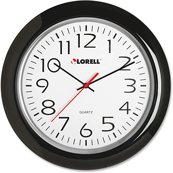 Lorell Wall Clock With Arabic Numerals 13 1 4 Inch Black Frame