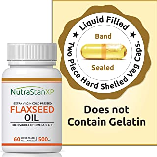 NutrastanXP Flaxseed Oil Veg Omega 3 6 9 Supplement, Extra Virgin Cold Pressed 500 mg - 60 Vegetarian Capsules
