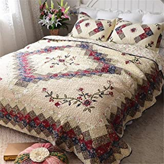 Jameswish Ethnic Embroidery Patchwork Quilt Sets Elegant Classic Reversible Quilting Bedspread 100%Cotton Soft Comfortable Washable Machine 3-Piece Including 1Quilt 2Pillowshames Queen King Size