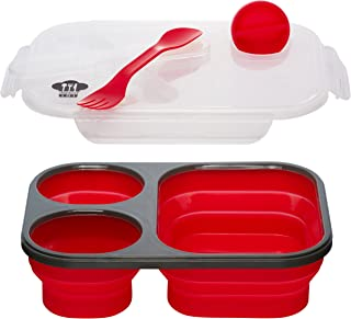 Kitchen Pro 101 Expandable & Collapsible Silicone School Lunch Box for Girls & Boys - 3 compartment Bento Box for Kids/Adults with Lid - As Seen On TV (Red)