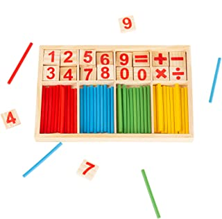 Hey! Play! Montessori Math Manipulatives-Number Tiles and Colorful Sticks to Count, Add, Subtract, Multiply, Divide-Learni...