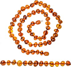 Genuine Amber Necklace for Adult - Cognac Color Glossy Amber Beads - Certified Amber - Knotted Between Beads (Cognac)