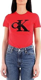 Calvin Klein Jeans Women's CKJ Flock Monogram CK SL XA9 RED WMN TEE, Racing Red, M