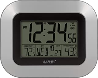 La Crosse Technology WS-8115U-S-INT Atomic Digital Wall Clock with Indoor and Outdoor Temperature