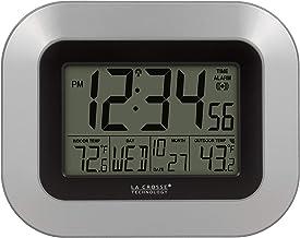 ساعة حائط رقمية لا كروس WS-8115U-S-INT مع درجة حرارة داخلية وخارجية