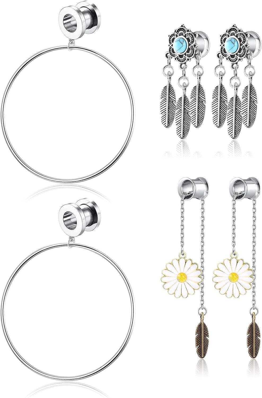 BodyBonita 3pairs Ear Tunnel Plugs Stainless Steel Dangle Ear Gauges Expander Stretcher 8-16mm Ear Piercing Jewelry for Women