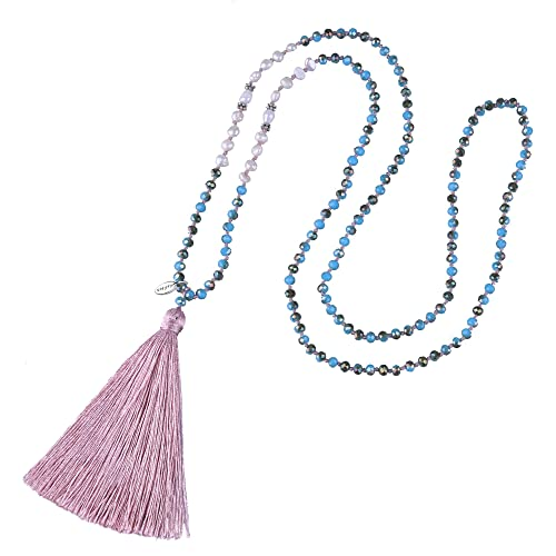 437e0ac8efd KELITCH Long Tassel Necklace Handmade Shell Pearl Crystal Beads Necklace  for Women