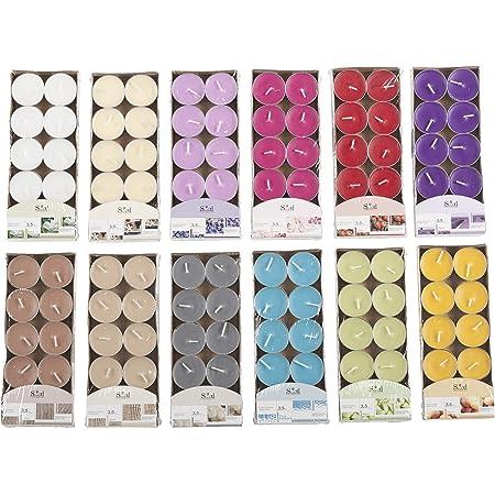 Invero® Lot de 120 Bougies chauffe-plats parfumées de plusieurs couleurs - idéales pour les salles de séjour, couloirs, cuisines, salons et bien plus encore