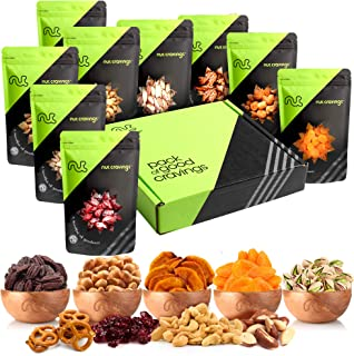 Dried Fruit & Fresh Nuts Mix Gift Basket, Green Box (9 Bags) - Variety Care Package, Birthday Party Food, Holiday Arrangem...