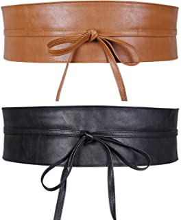 Women Obi Style Waist Belt Soft Faux Leather Wide Wrap Around Bowknot Ladies Waistband Belts 2 Packs by WHIPPY (Black+Brow...