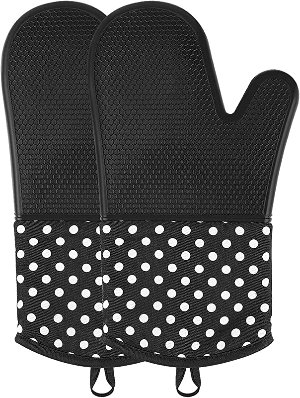 OVAWA Silicone Oven Mitts Extra Long Kitchen Oven Gloves Professional Heat Resistant Baking Gloves 1 Pair Black