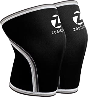Z ZEALSPOT Knee Sleeves(1 Pair) Compression & Support for Weightlifting, WOD, Squats, Gym, Powerlifting & Crossfit-7mm Neoprene Knee Brace-Both Women & Men,Black or Blue