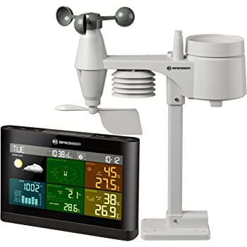 BRESSER 5-in-1 Weather Station Weather Center Comfort with Colour Display and multi outdoor sensor