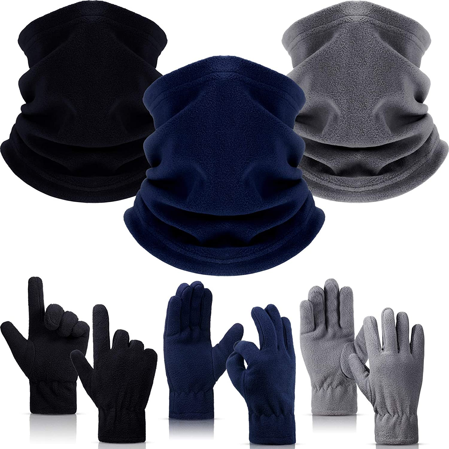 6 Pieces Neck Warmer and Gloves Set Fleece Anti-Pilling Neck Gaiter Flexible Tube Scarf Thermal Gloves Unisex and Multi-functional for Wind-proof Dust-proof Sports and Leisure