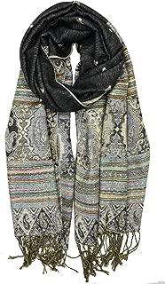 Achillea Reversible Bohemian Pashmina Ethnic Tribal Border Shawl Wrap Scarf