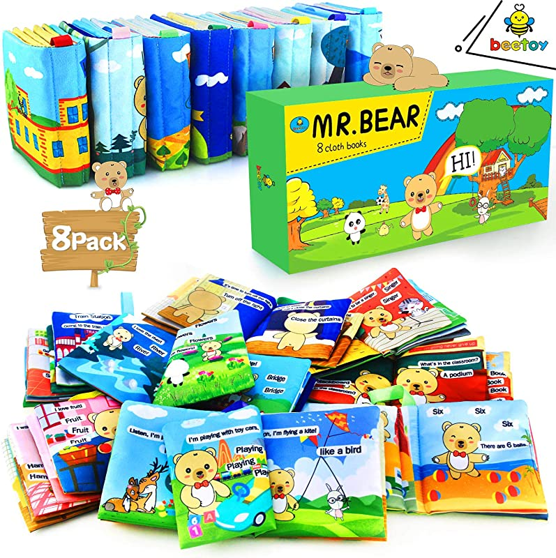 Beetoy Mr Bear Cloth Story Books For Baby 8 Pack Soft Books Crinkle With Gift Box For Infant Children Kids 1 To 3 Years Old Teach Your Baby Speaking Reading Mr Bear Children S Best Friend