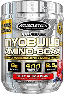 Post Workout BCAA Amino Acids | MuscleTech Myobuild Amino BCAAs | Muscle Builder & Muscle Recovery Powder | Featuring Taur...