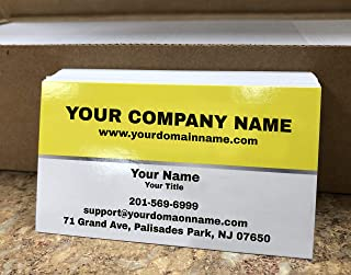 Custom Premium Business Cards 500 pcs Full color - Half Yellow (129 lbs. 350gsm-Thick paper), UV coating-Front, Matte finishing-Back, Offset Printing, Made in The USA (Yellow)