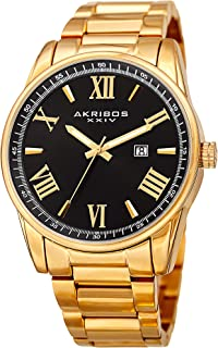 Men's Casual Classic Quartz Watch - Sunburst Dial with Roman Numeral and Date - Featuring a Stainless Steel Bracelet - AK936