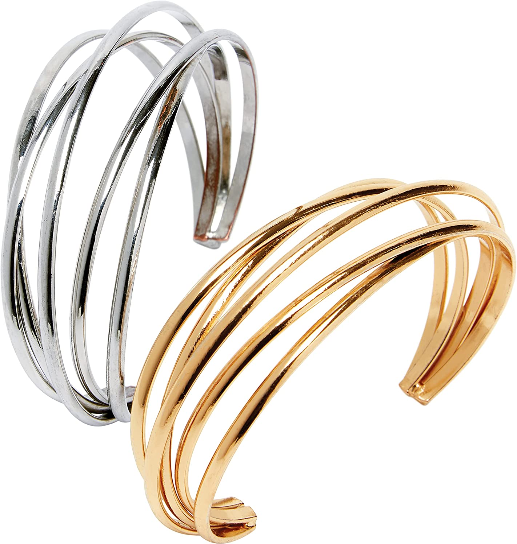 Jessica London Women's Plus Size Layered Cuff, Gold White