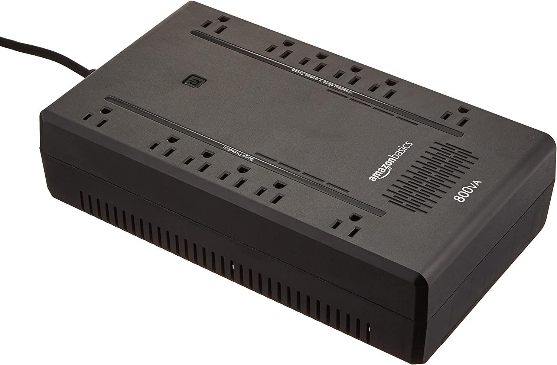Amazon Basics Standby UPS 800VA 450W Surge Protector Battery Power Backup, 12 Outlets - Black