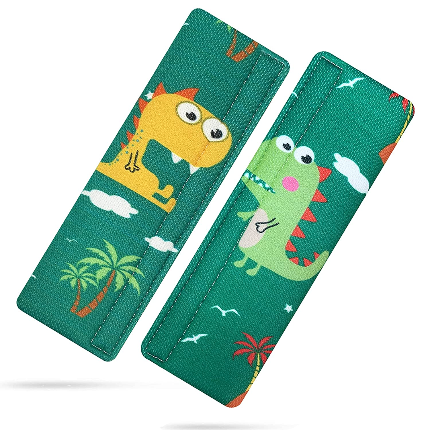 Seatbelt Covers Baby Car Strap Covers - Soft and Comfort Car Seat Belt Covers for Kids Cute Dinosaur Pattern Seat Strap Pads Pillow for Boys and Girls, 2 Pack