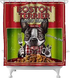 Lantern Press Boston Terrier - Retro Baked Beans Ad 55639 (74x74 Polyester Shower Curtain)